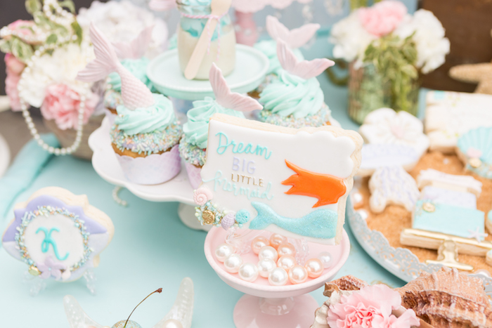 Dream Big Mermaid Cookie from a Pastel Mermaid Birthday Party on Kara's Party Ideas | KarasPartyIdeas.com (9)