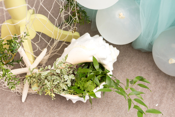 Conk shell of plants from a Pastel Mermaid Birthday Party on Kara's Party Ideas | KarasPartyIdeas.com (8)