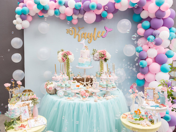 Mermaid dessert table from a Pastel Mermaid Birthday Party on Kara's Party Ideas | KarasPartyIdeas.com (6)