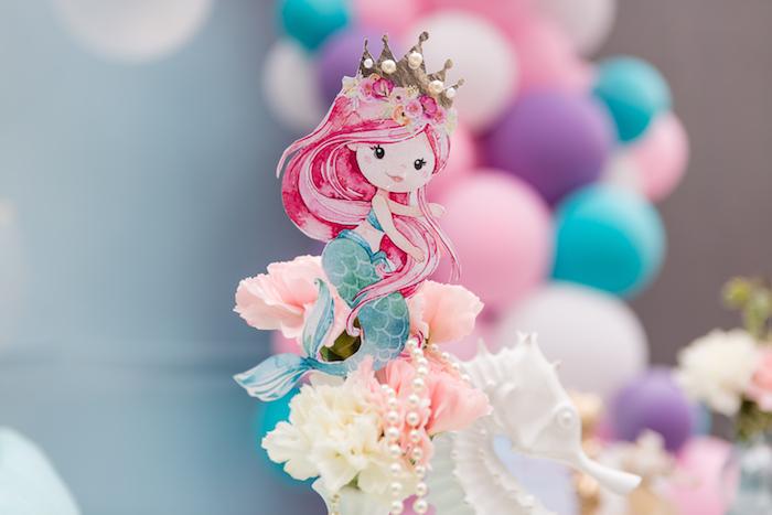 Mermaid from a Pastel Mermaid Birthday Party on Kara's Party Ideas | KarasPartyIdeas.com (5)