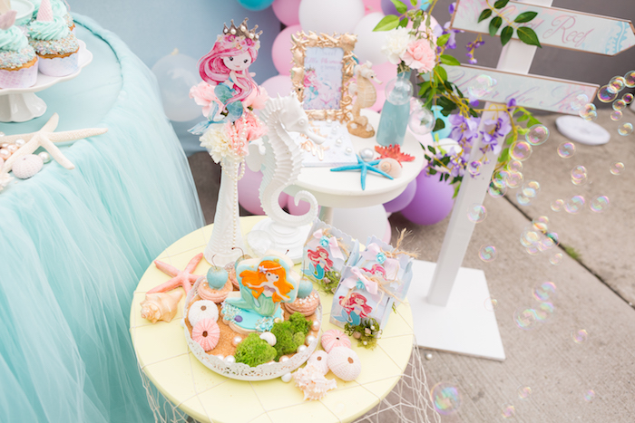 Mini party tables from a Pastel Mermaid Birthday Party on Kara's Party Ideas | KarasPartyIdeas.com (4)