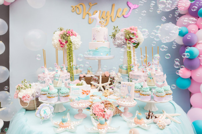Mermaid dessert table from a Pastel Mermaid Birthday Party on Kara's Party Ideas | KarasPartyIdeas.com (3)