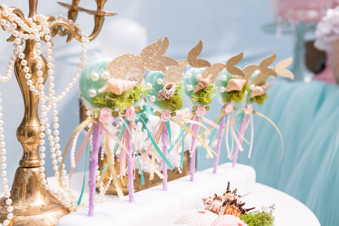 Mermaid lollipops from a Pastel Mermaid Birthday Party on Kara's Party Ideas | KarasPartyIdeas.com (30)