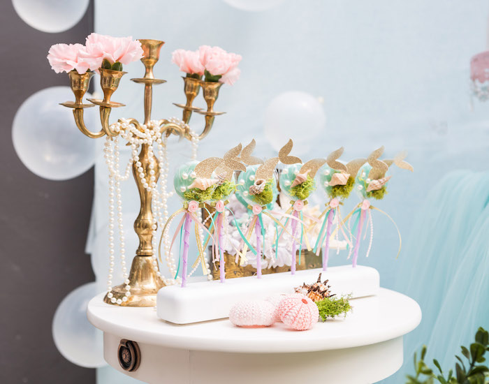 Mermaid lollipops from a Pastel Mermaid Birthday Party on Kara's Party Ideas | KarasPartyIdeas.com (29)