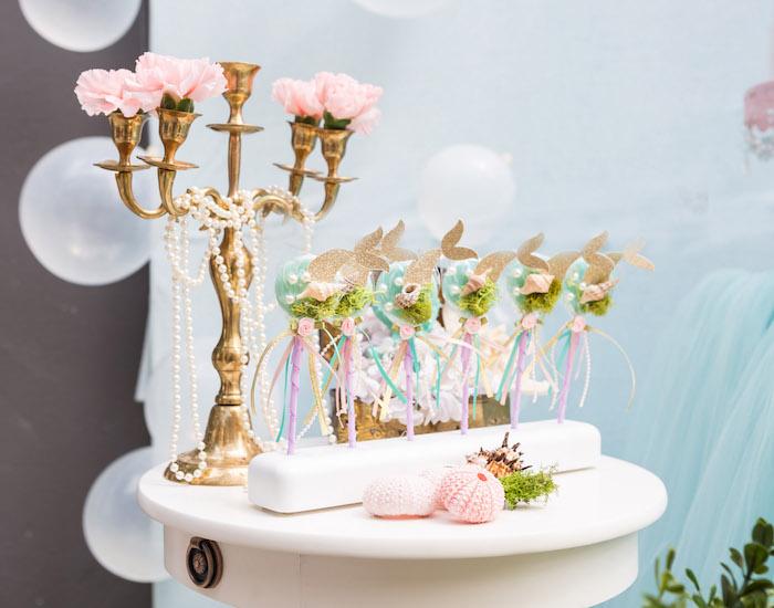 Mermaid lollipops from a Pastel Mermaid Birthday Party on Kara's Party Ideas | KarasPartyIdeas.com (29)
