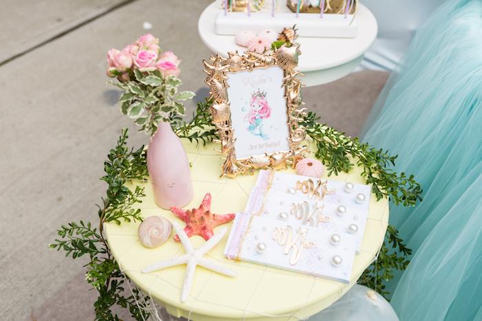 Mermaid table from a Pastel Mermaid Birthday Party on Kara's Party Ideas | KarasPartyIdeas.com (27)