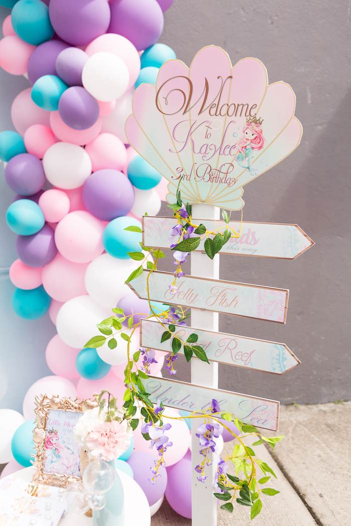 Welcome sign from a Pastel Mermaid Birthday Party on Kara's Party Ideas | KarasPartyIdeas.com (26)