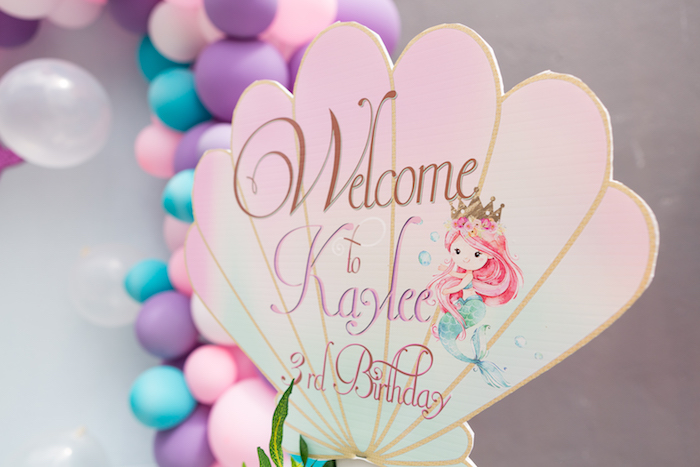 Welcome sign from a Pastel Mermaid Birthday Party on Kara's Party Ideas | KarasPartyIdeas.com (25)