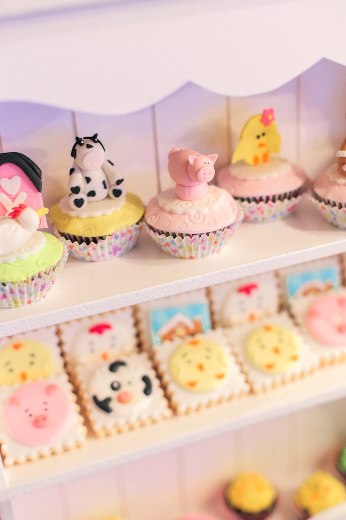 Barnyard cupcakes from a Pink Barnyard Birthday Party on Kara's Party Ideas | KarasPartyIdeas.com (23)
