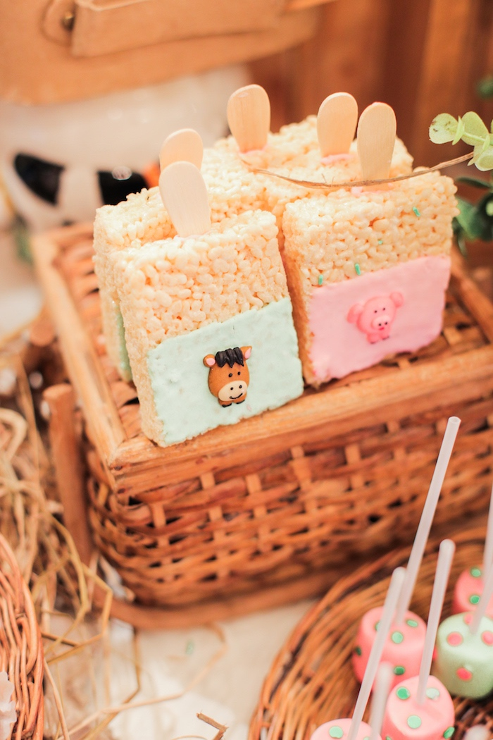 Barnyard Rice Krispie Treats from a Pink Barnyard Birthday Party on Kara's Party Ideas | KarasPartyIdeas.com (22)