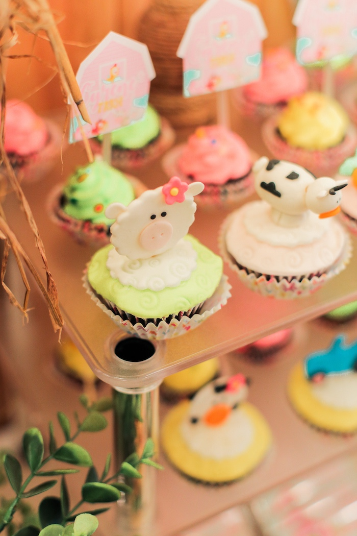 Cupcakes from a Pink Barnyard Birthday Party on Kara's Party Ideas | KarasPartyIdeas.com (20)