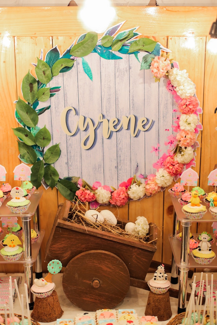 Sweet table backdrop from a Pink Barnyard Birthday Party on Kara's Party Ideas | KarasPartyIdeas.com (17)