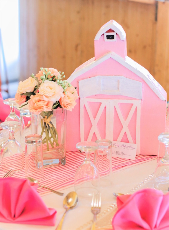 Pink Barn Centerpiece from a Pink Barnyard Birthday Party on Kara's Party Ideas | KarasPartyIdeas.com (33)