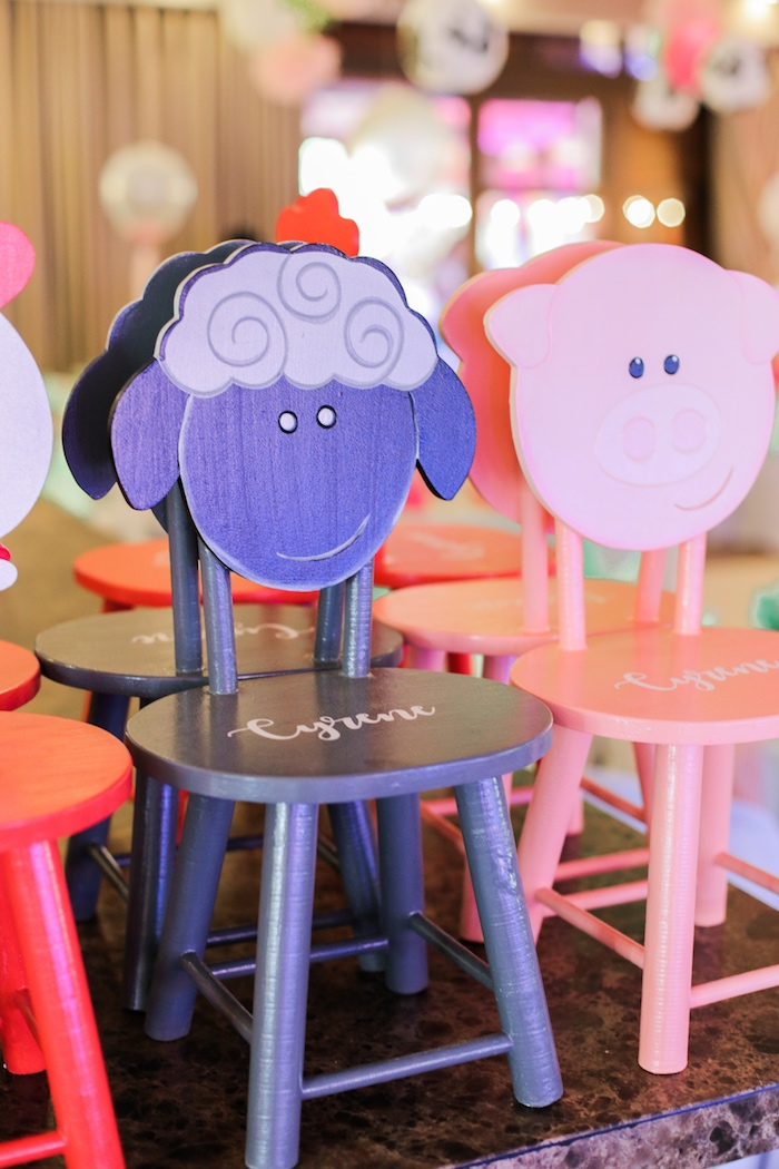 Farm animal chairs from a Pink Barnyard Birthday Party on Kara's Party Ideas | KarasPartyIdeas.com (13)