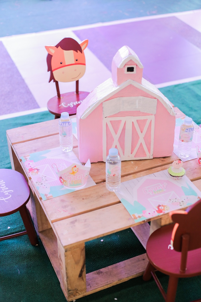 Guest table from a Pink Barnyard Birthday Party on Kara's Party Ideas | KarasPartyIdeas.com (12)