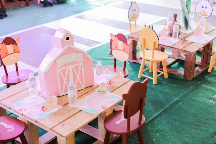 Guest table from a Pink Barnyard Birthday Party on Kara's Party Ideas | KarasPartyIdeas.com (11)