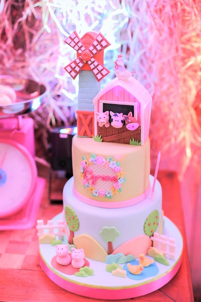 Barnyard Cake from a Pink Barnyard Birthday Party on Kara's Party Ideas   KarasPartyIdeas.com (7)