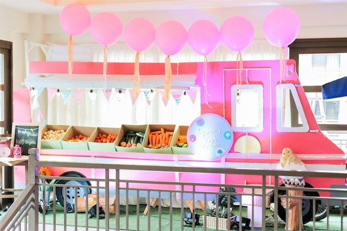 Produce stand from a Pink Barnyard Birthday Party on Kara's Party Ideas | KarasPartyIdeas.com (32)