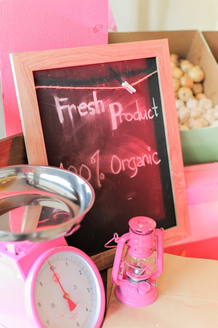 Produce scale and chalkboard signage from a Pink Barnyard Birthday Party on Kara's Party Ideas | KarasPartyIdeas.com (31)