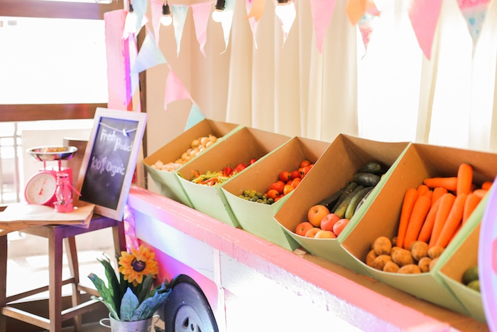 Produce stand from a Pink Barnyard Birthday Party on Kara's Party Ideas | KarasPartyIdeas.com (27)