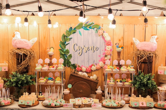 Dessert table from a Pink Barnyard Birthday Party on Kara's Party Ideas | KarasPartyIdeas.com (25)