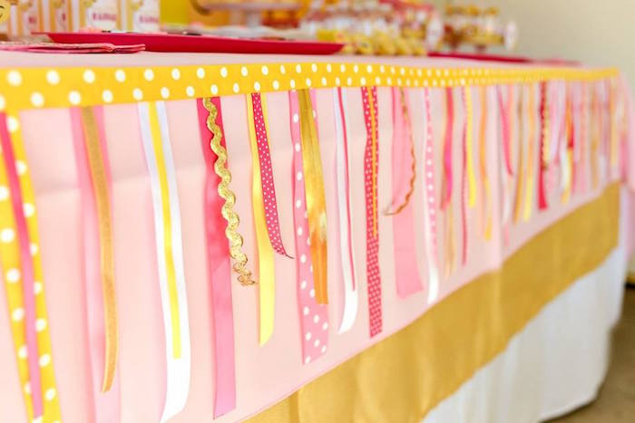 Ribbon tassel banner from a Pink & Gold Emoji Birthday Party on Kara's Party Ideas | KarasPartyIdeas.com (30)