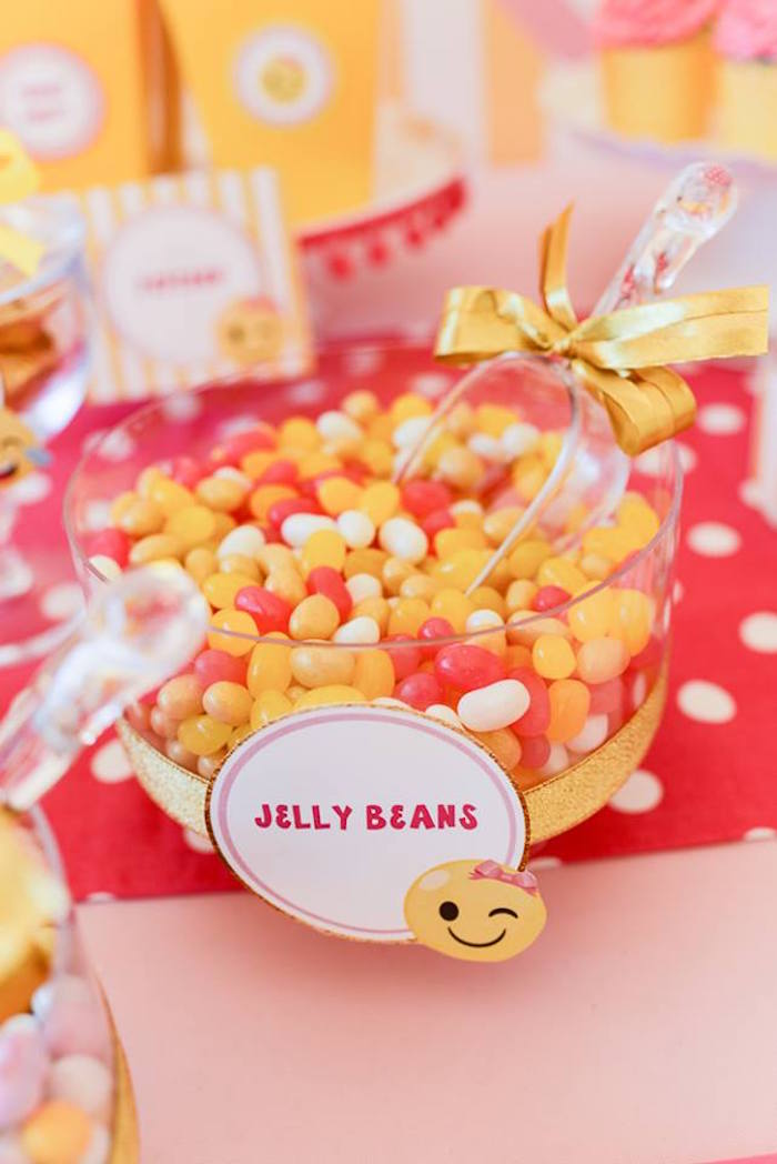 Jelly bean bowl from a Pink & Gold Emoji Birthday Party on Kara's Party Ideas | KarasPartyIdeas.com (28)