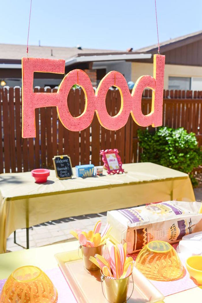 Food table from a Pink & Gold Emoji Birthday Party on Kara's Party Ideas | KarasPartyIdeas.com (26)