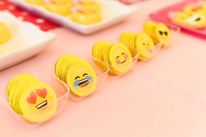 Emoji chocolate coins from a Pink & Gold Emoji Birthday Party on Kara's Party Ideas | KarasPartyIdeas.com (25)