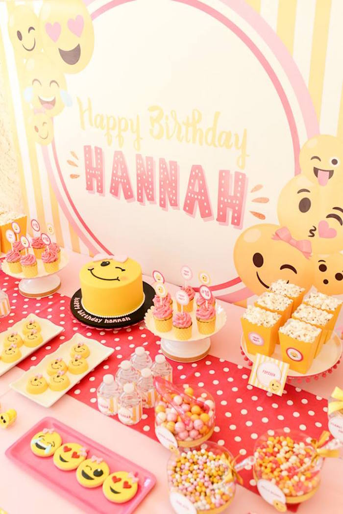 Cake table from a Pink & Gold Emoji Birthday Party on Kara's Party Ideas | KarasPartyIdeas.com (24)