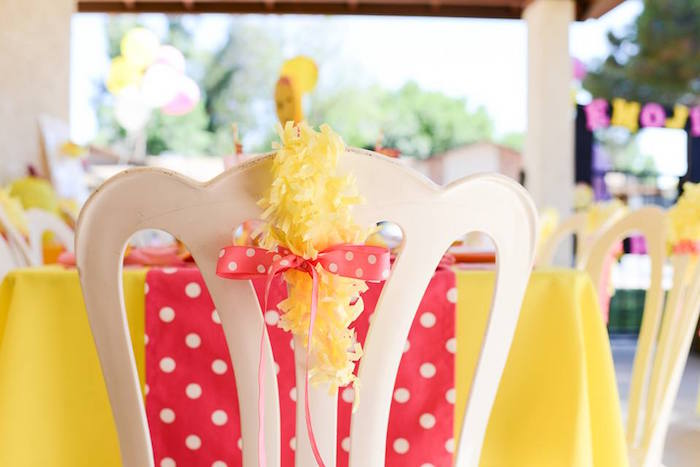 Chair tassel from a Pink & Gold Emoji Birthday Party on Kara's Party Ideas | KarasPartyIdeas.com (23)