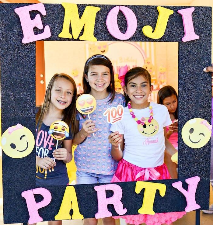 Emoji photo booth frame from a Pink & Gold Emoji Birthday Party on Kara's Party Ideas   KarasPartyIdeas.com (39)