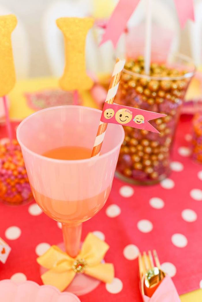 Drink cup from a Pink & Gold Emoji Birthday Party on Kara's Party Ideas | KarasPartyIdeas.com (19)
