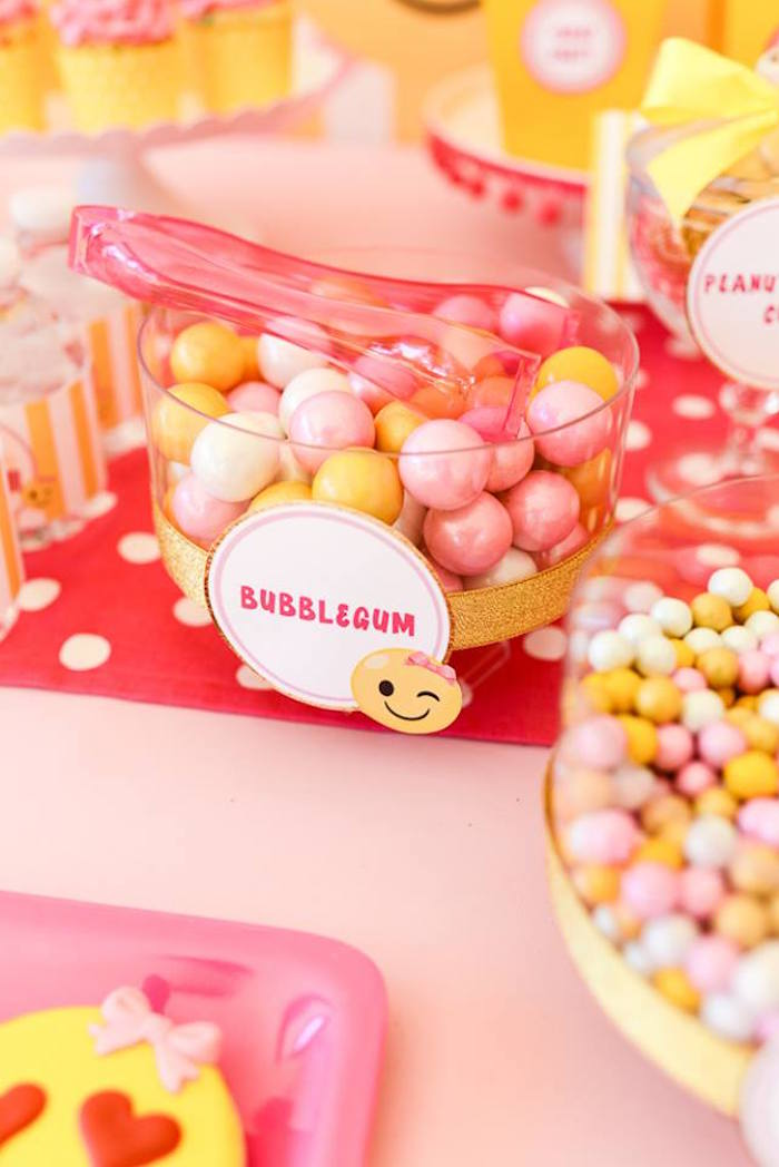 Bubblegum from a Pink & Gold Emoji Birthday Party on Kara's Party Ideas   KarasPartyIdeas.com (18)