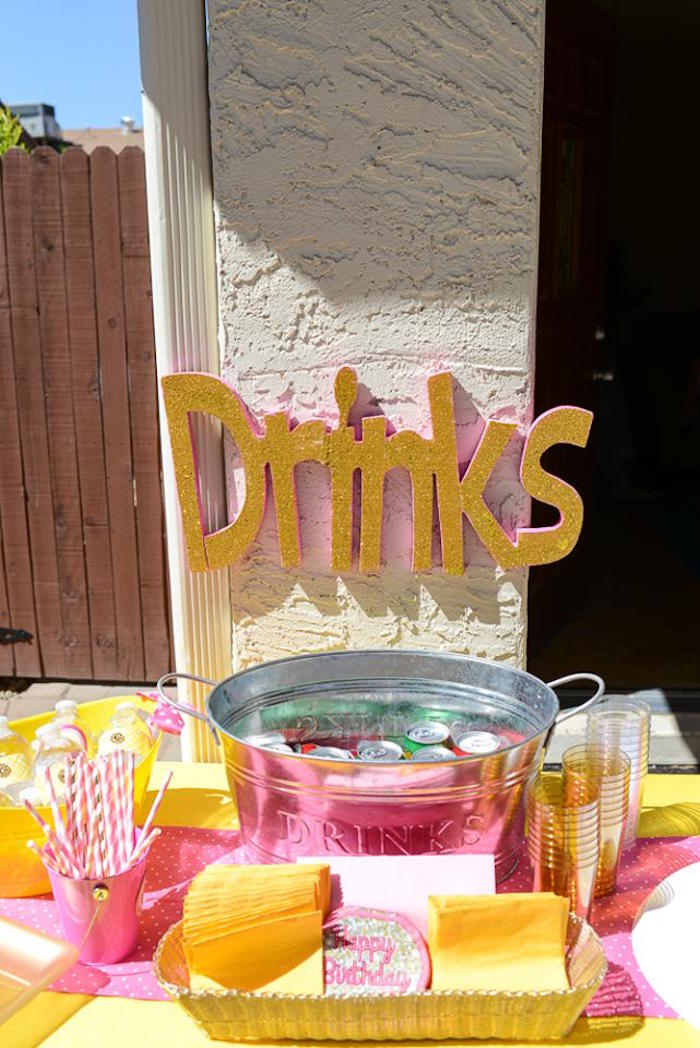 Drink table from a Pink & Gold Emoji Birthday Party on Kara's Party Ideas | KarasPartyIdeas.com (17)