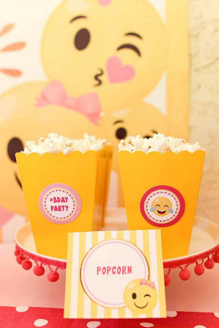 Popcorn boxes from a Pink & Gold Emoji Birthday Party on Kara's Party Ideas | KarasPartyIdeas.com (16)