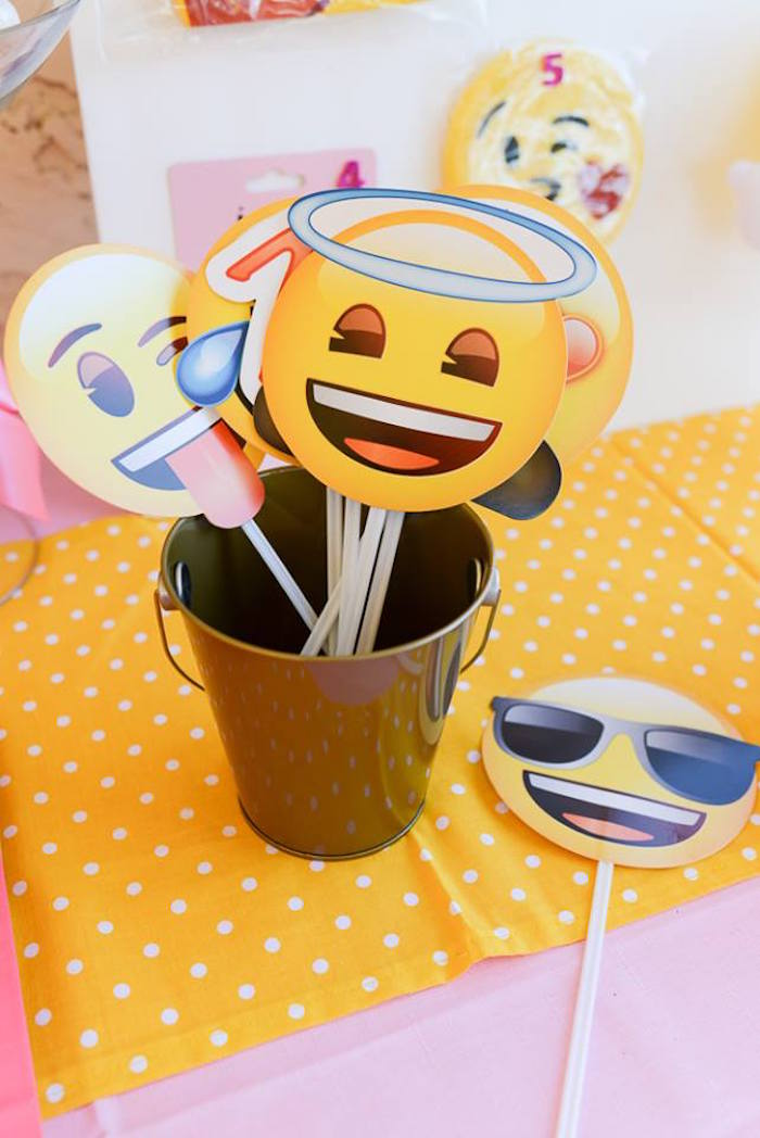 Emoji photo props from a Pink & Gold Emoji Birthday Party on Kara's Party Ideas | KarasPartyIdeas.com (15)