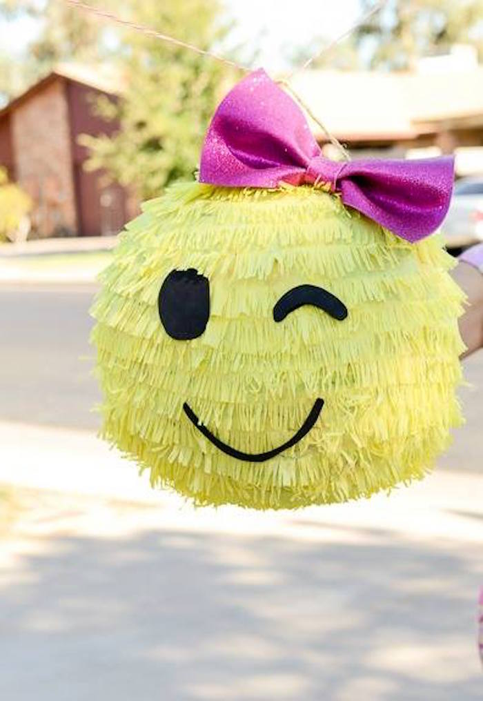 Emoji pinata from a Pink & Gold Emoji Birthday Party on Kara's Party Ideas | KarasPartyIdeas.com (14)