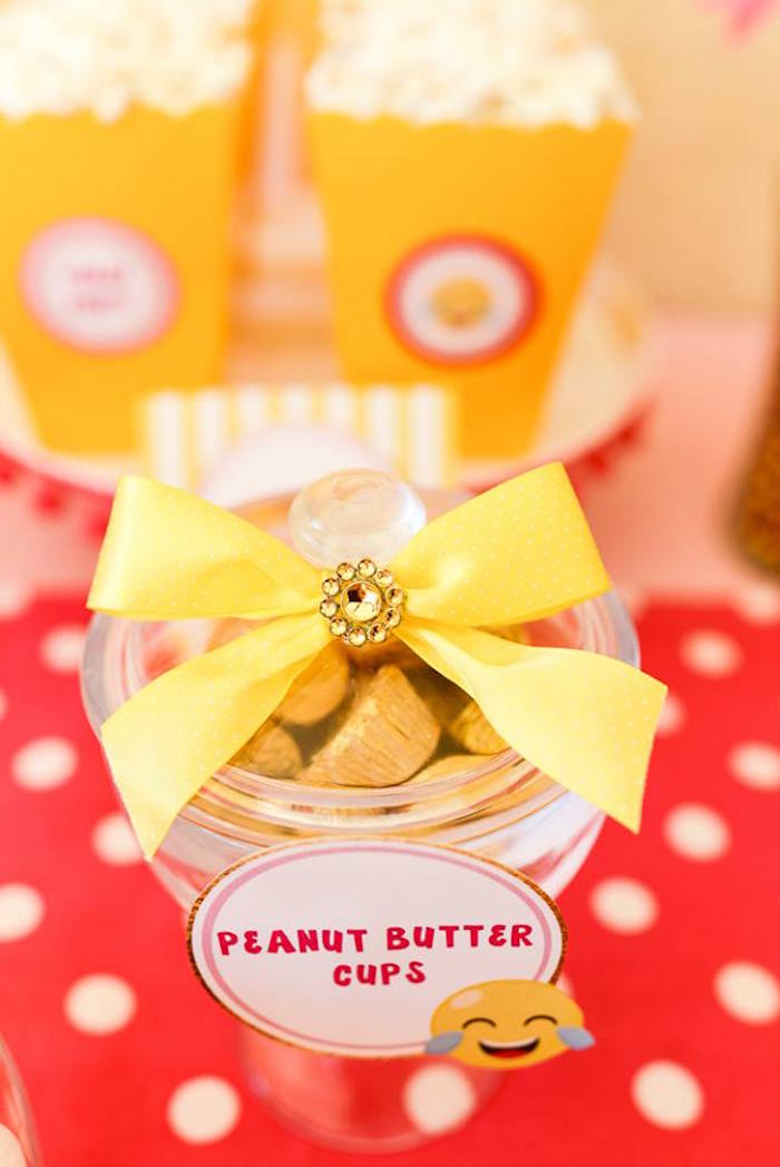 Dessert jar adorned with a jeweled yellow bow from a Pink & Gold Emoji Birthday Party on Kara's Party Ideas | KarasPartyIdeas.com (13)
