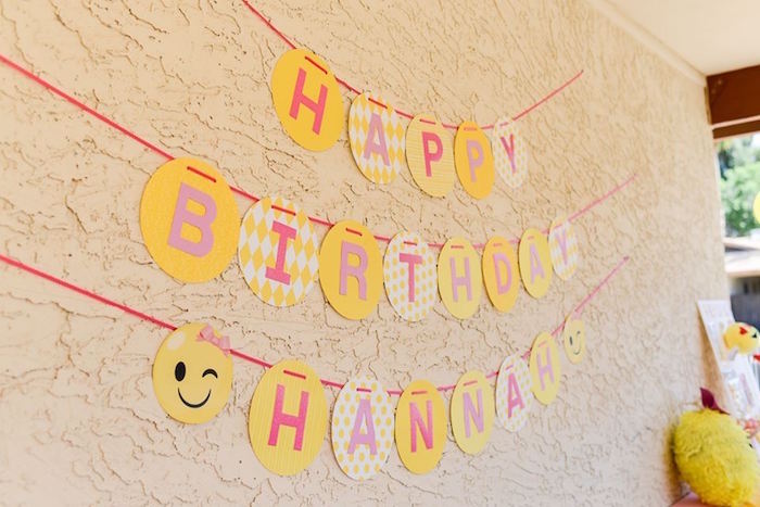 Happy Birthday Banner from a Pink & Gold Emoji Birthday Party on Kara's Party Ideas   KarasPartyIdeas.com (12)