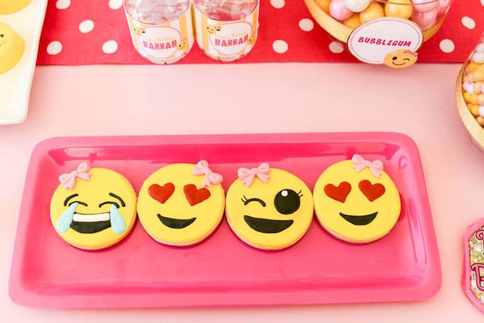 Emoji sugar cookies from a Pink & Gold Emoji Birthday Party on Kara's Party Ideas | KarasPartyIdeas.com (11)