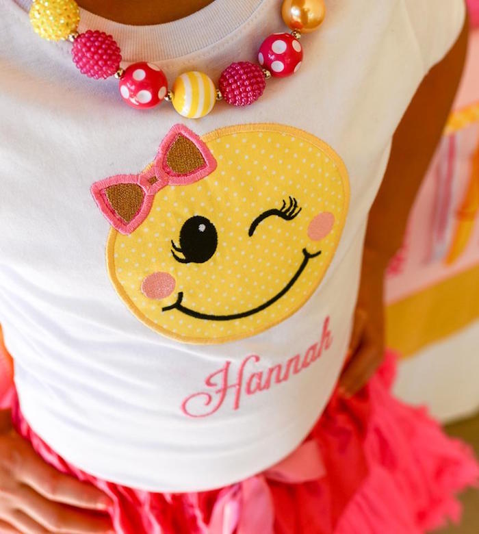 Custom emoji t-shirt from a Pink & Gold Emoji Birthday Party on Kara's Party Ideas | KarasPartyIdeas.com (38)