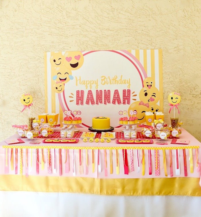 Emoji dessert table from a Pink & Gold Emoji Birthday Party on Kara's Party Ideas | KarasPartyIdeas.com (6)