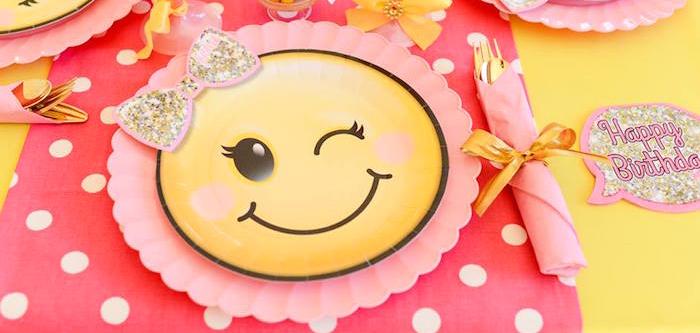 Karas Party Ideas Pink Gold Emoji Birthday