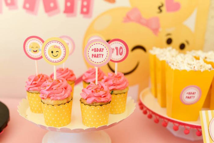 Emoji cupcakes from a Pink & Gold Emoji Birthday Party on Kara's Party Ideas | KarasPartyIdeas.com (36)