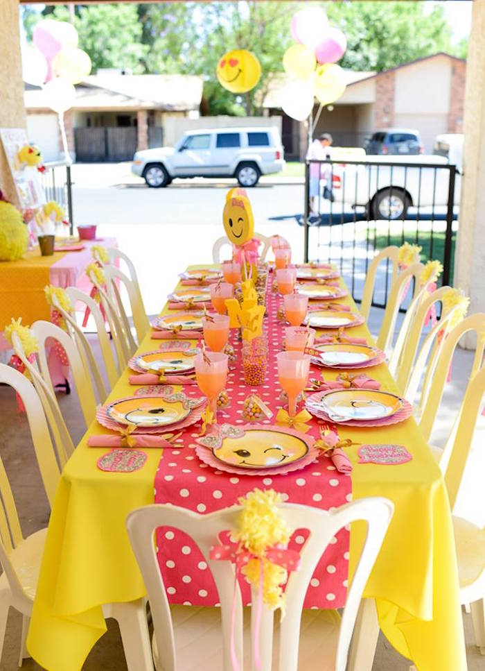 Emoji guest table from a Pink & Gold Emoji Birthday Party on Kara's Party Ideas | KarasPartyIdeas.com (35)