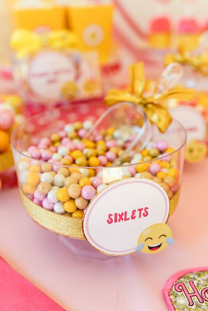 Sixlets from a Pink & Gold Emoji Birthday Party on Kara's Party Ideas   KarasPartyIdeas.com (34)