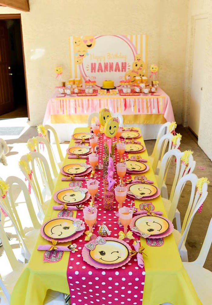 Emoji guest table from a Pink & Gold Emoji Birthday Party on Kara's Party Ideas | KarasPartyIdeas.com (33)