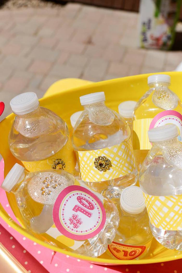 Water bottles from a Pink & Gold Emoji Birthday Party on Kara's Party Ideas | KarasPartyIdeas.com (31)