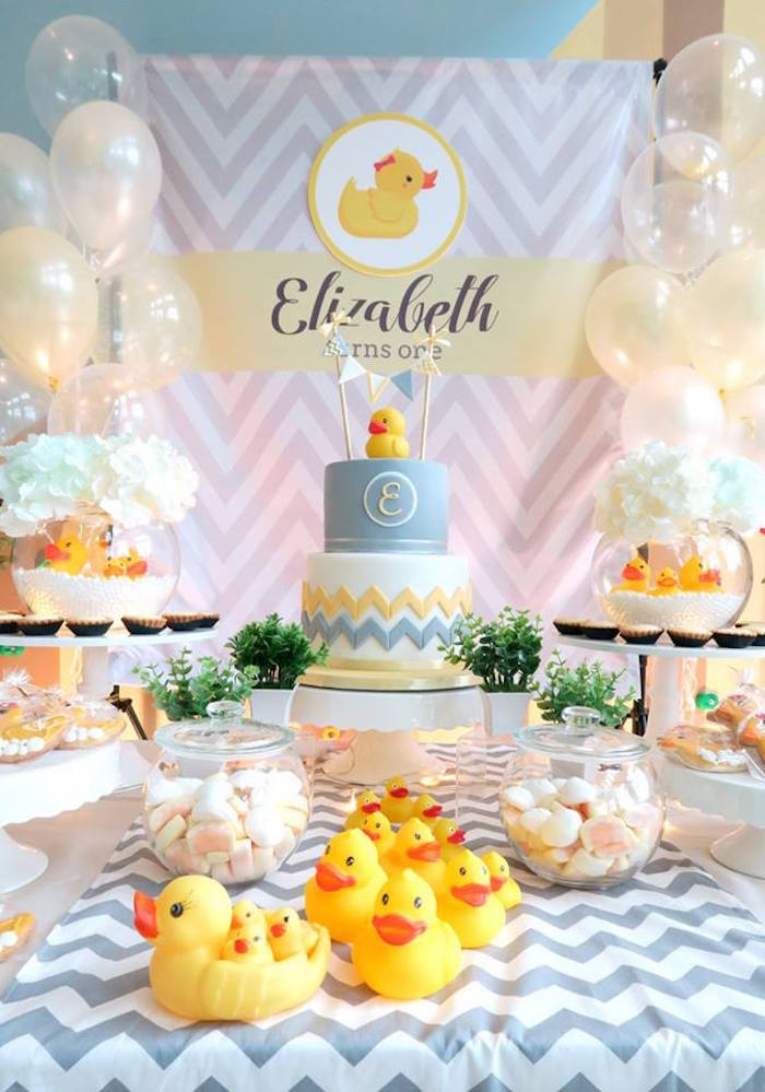 Cake + Dessert Table From A Rubber Duck Birthday Party On Karau0027s Party  Ideas | KarasPartyIdeas